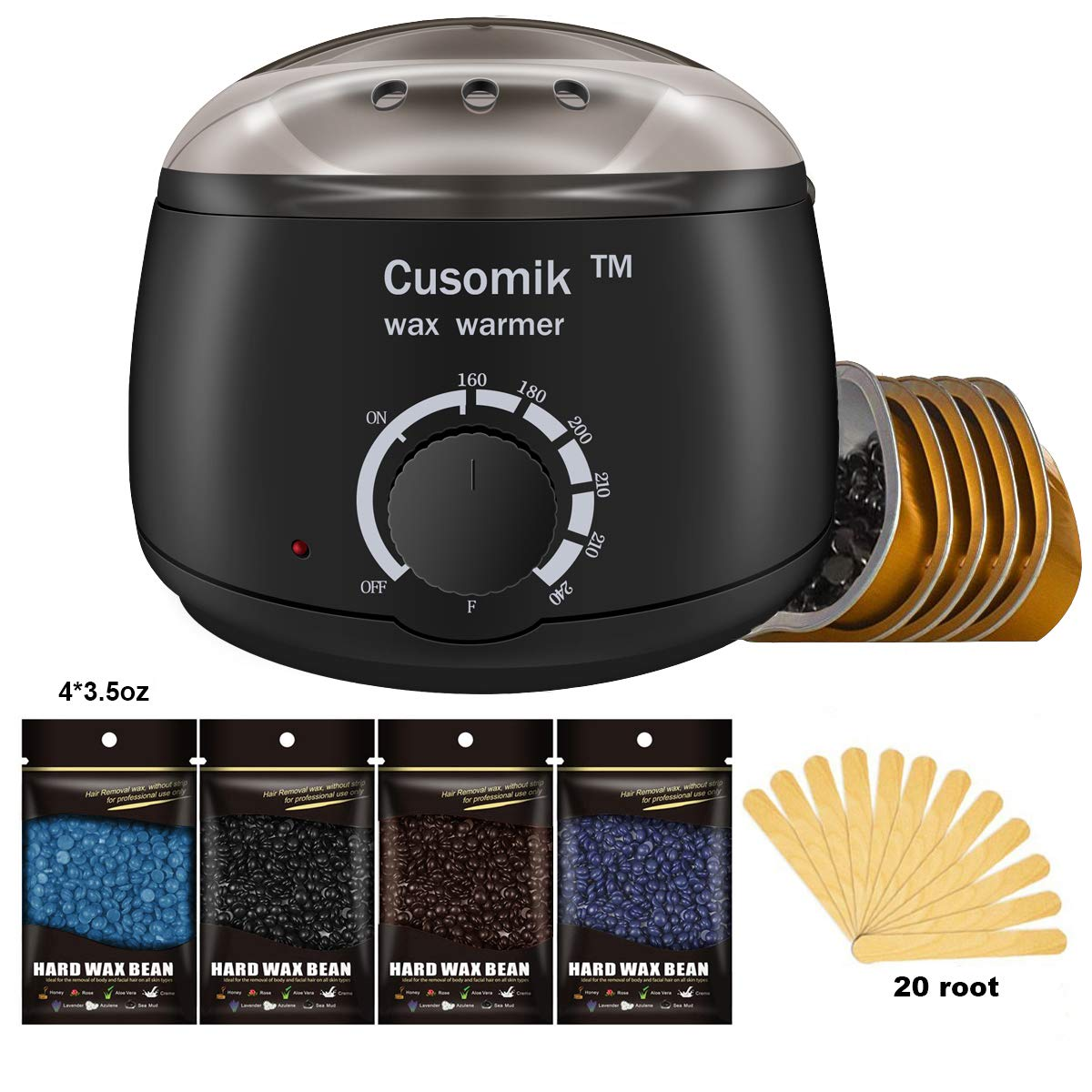 Wax Warmer - Cusomik Waxing Hair Removal Kit Wax Heater with 4 Hard Wax Beans and 20 Wax Applicator Sticks Summer Ready-Painlessly Remove Hair From Bikini Arm Legs at Home Cusomik-ww0-us