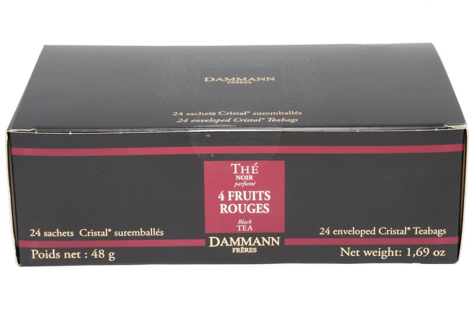 DAMMANN FRERES Four Fruit Rouges Black Tea, 24 Cristal Teabags