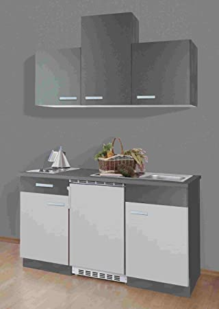 idealShopping GmbH Singleküche Greta 150 cm mit Edelstahl Kochmulde ...