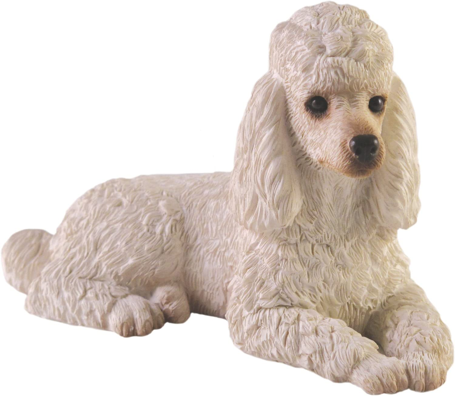 Sandicast Small Size White Poodle Sculpture, Lying