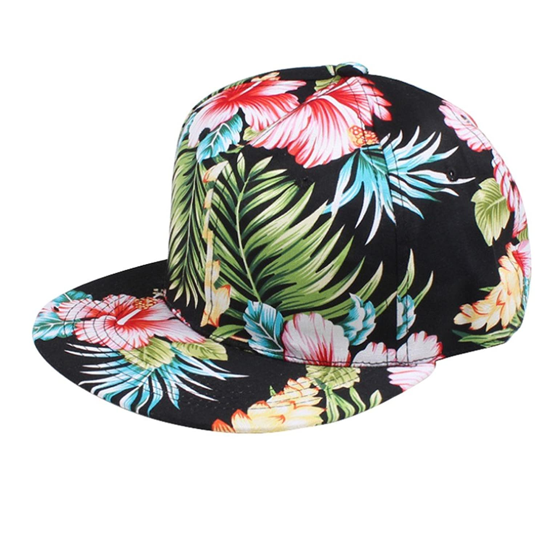 Outtop Girls Hip Hop Adjustable Snapback Hawaii Print Street Cap Hat (Black)