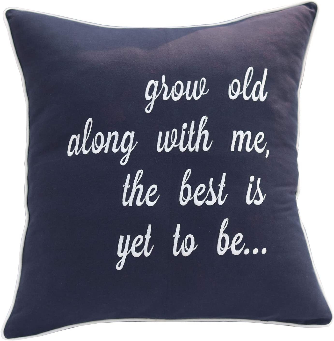 YugTex Grow Old Along with Me Cotton Embroidered Decorative Square Accent Throw Pillow Cover - Couple Bedroom Decor, Valentine Gift - 18x18 Inches, Navy Blue