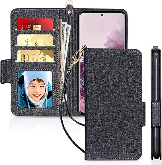 RFID Blocking Skycase Galaxy S20 Plus Case 5G 6.7, S20 Plus Wallet Case,Handmade Flip Folio Wallet Case with Card Slots and Detachable Hand Strap for Samsung Galaxy S20 Plus 6.7 2020,Green