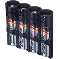 Storacell by Powerpax SlimLine AAA Battery Caddy, Black, Holds 4 Batteries
