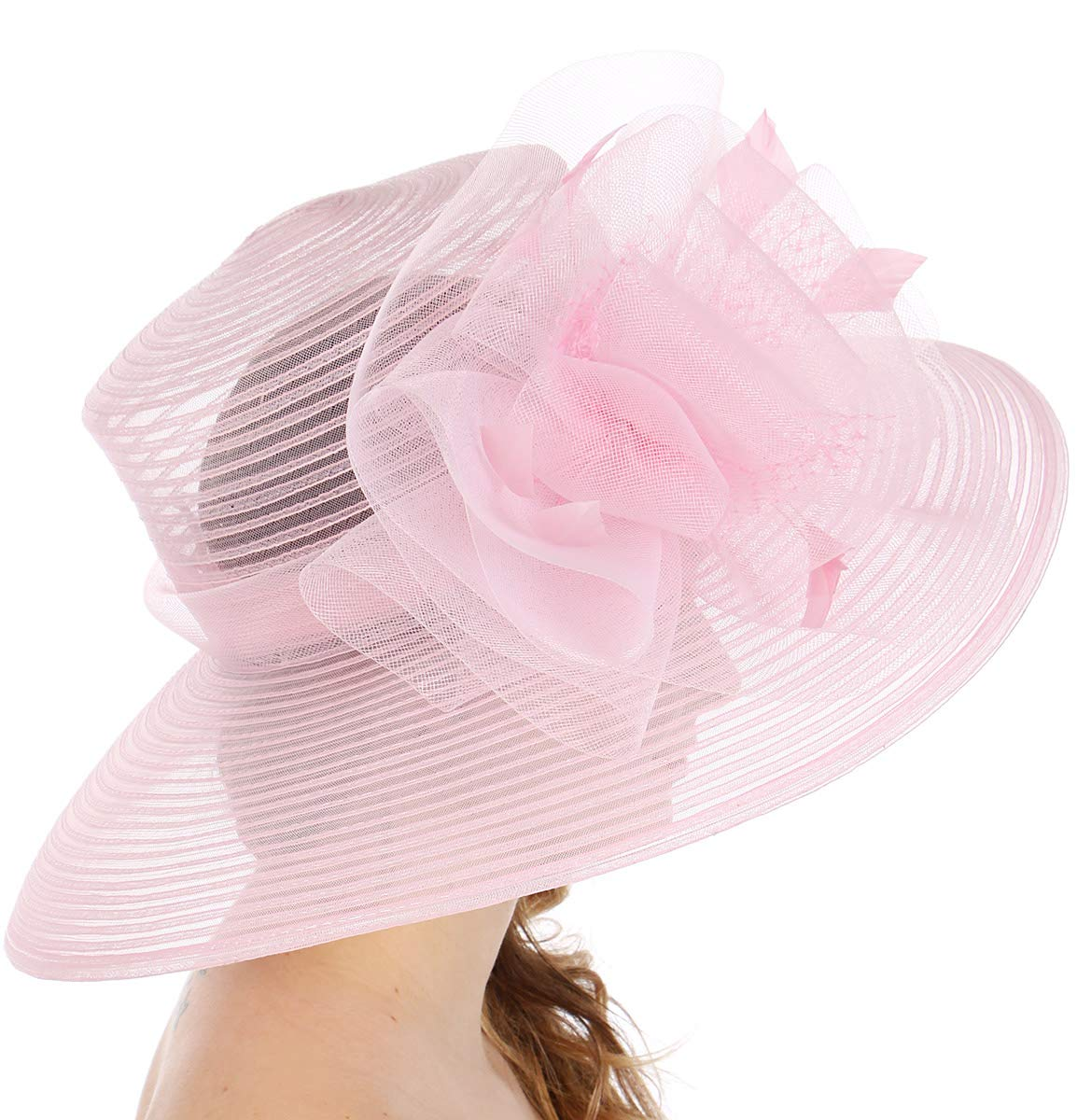 Women Kentucky Derby Church Dress Fascinator Wedding Hat, Bow and Feather, Pink