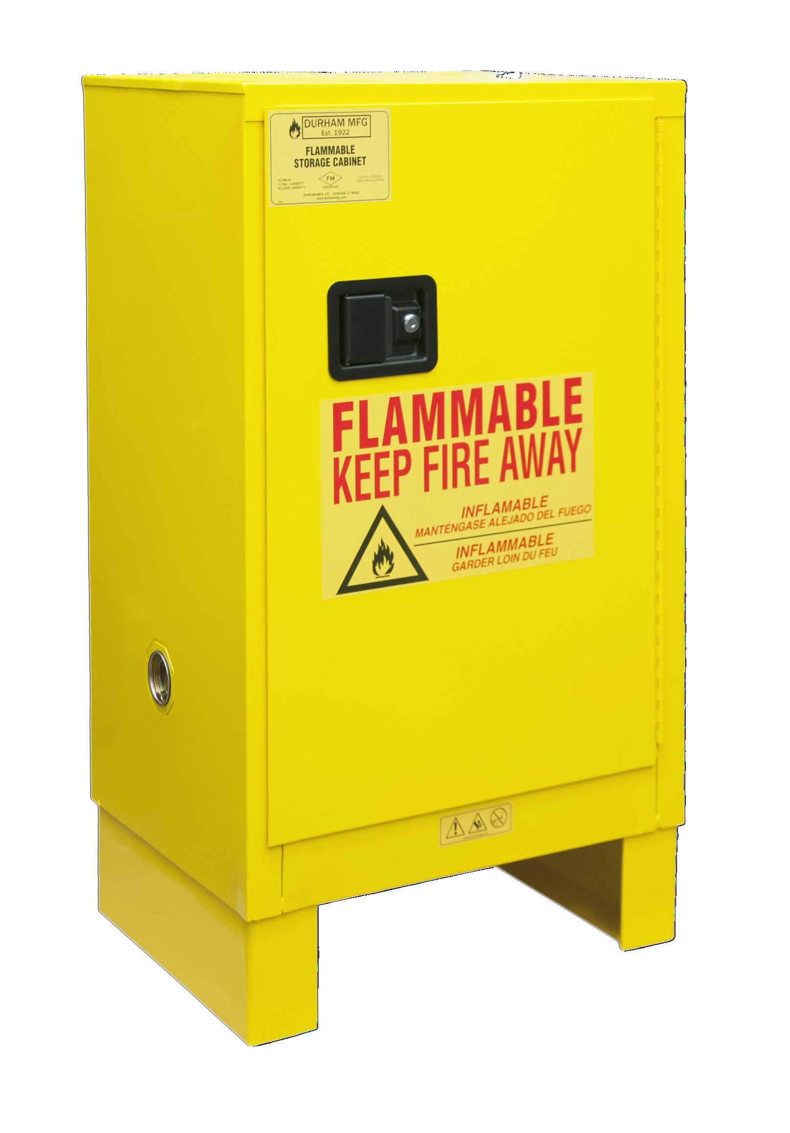 Durham 1012ML-50 Flammable Safety Cabinet with 1 Manual Door and Legs, 23'' x 18'' x 41'', 12 gal Capacity, Yellow