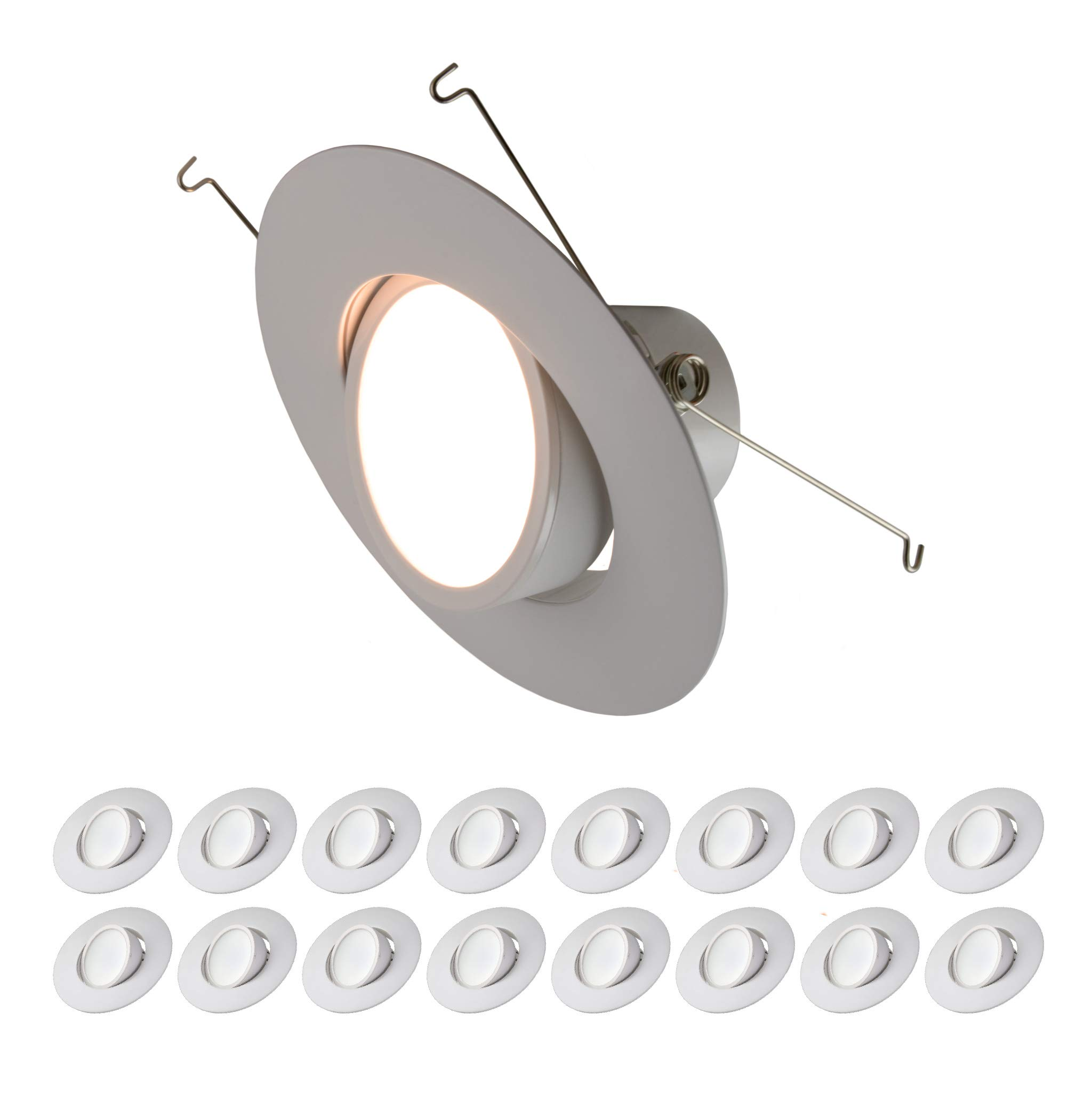 5/6'' inch LED Gimbal Adjustable Rotating Downlight White Trim 16.5W= (100w Equivalent) Damp Location Rated; 25,000 Life Hours; Dimmable to 5%; 5 YR Warranty; 1200 Lumens; Soft White 2700K- (16 Pack)