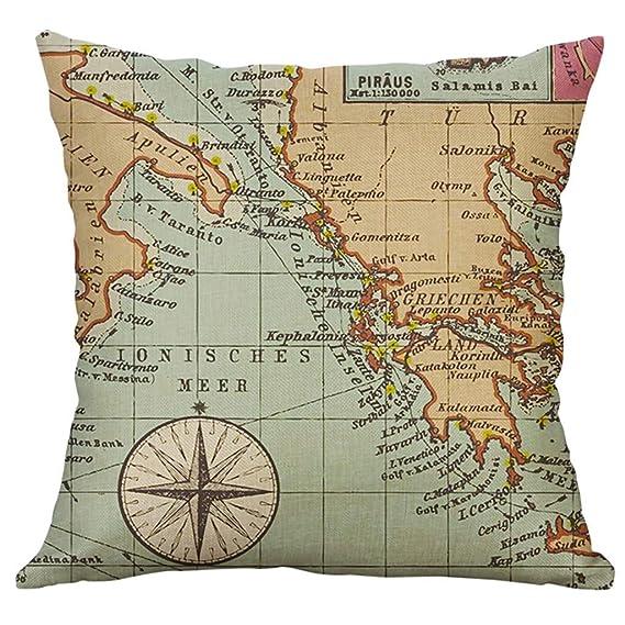NPRADLA Cojin Fundas Funda de Cojin Encantadora de Lino Creativo Funda de Cojin Fundas de Cojin de Coche Cushion Cover 45x45cm: Amazon.es: Hogar