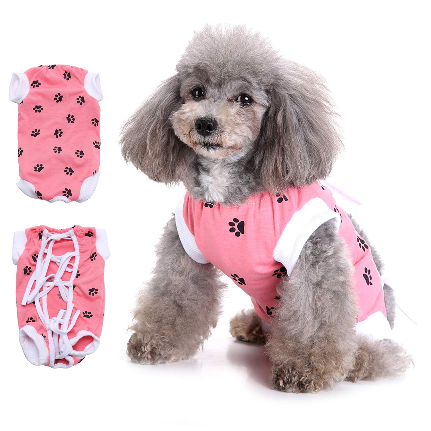 Ranphy Adjustable Dog Recovery Suit Pet Shirt After Surgery Breathable E-Collar Alternative for Abdominal Wounds Skin Diseases After Surgery Wear Anti Licking Wounds Pink Size S by Ranphy