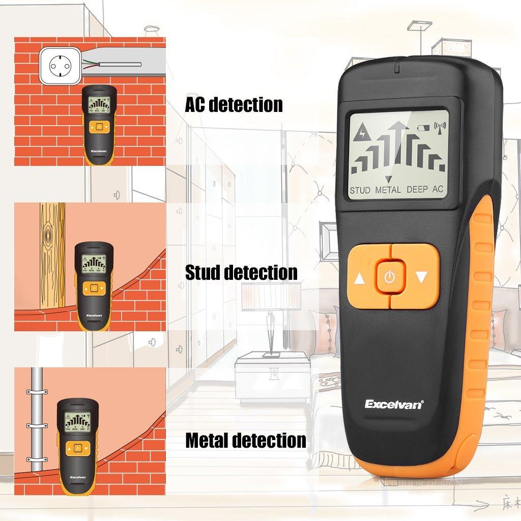 Excelvan AOK6035 - 3 en 1 Detector de Multi-función (LCD Pantalla Grande, Para Metal, Perno, Al fondo, Cables de Corriente Alterna, Madera, Viga), ...