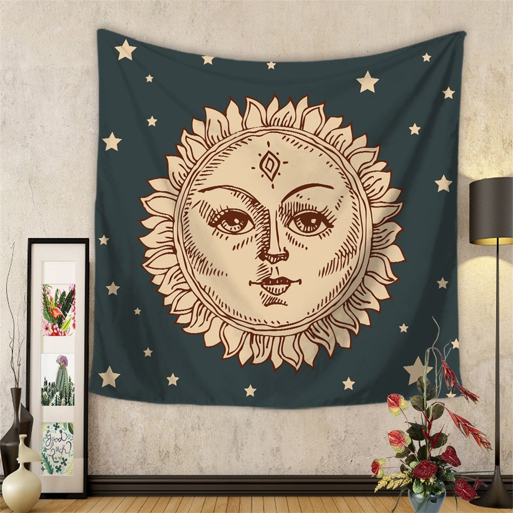 Celestial Indian Sun and Moon Hippie Hippy Tapestry Wall Hanging Throw Tie Dye Hippie Hippy Boho Bohemian Wall Art - Window Curtain Table Cover Bedspread Beach Towel Tapestry HYC20-US (#7)