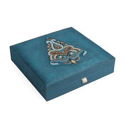 Amazoncom Handcrafted Dark Teal Bahubali Embroidered Jewelry Box