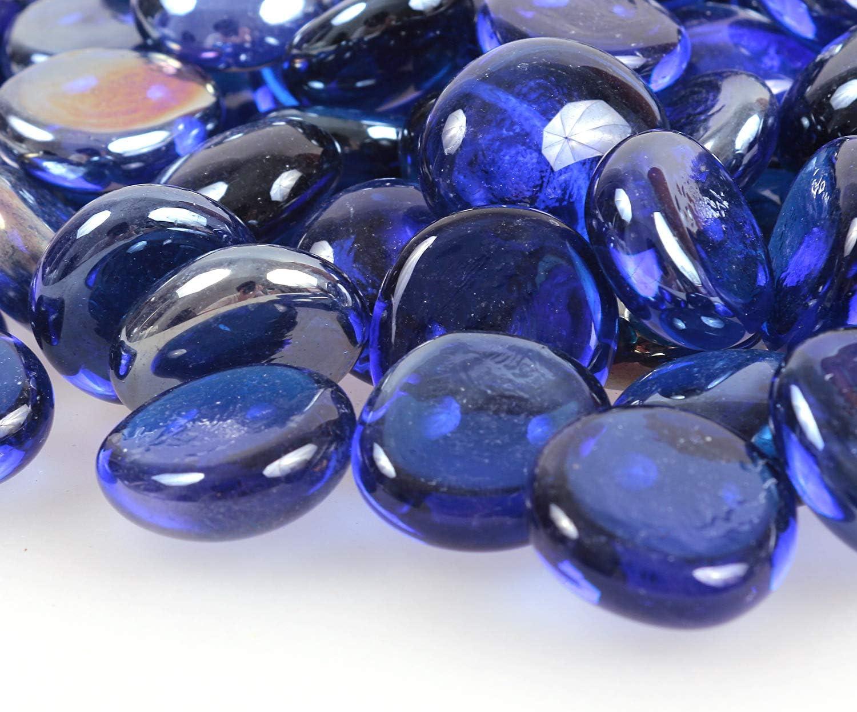 335 g pierres de feu Gravelle r/éfl/échissante en verre /à haute lustre perles pour foyer aquarium d/écoration de jardin galets de verre 17-19 mm pierres de feu bleu saphir