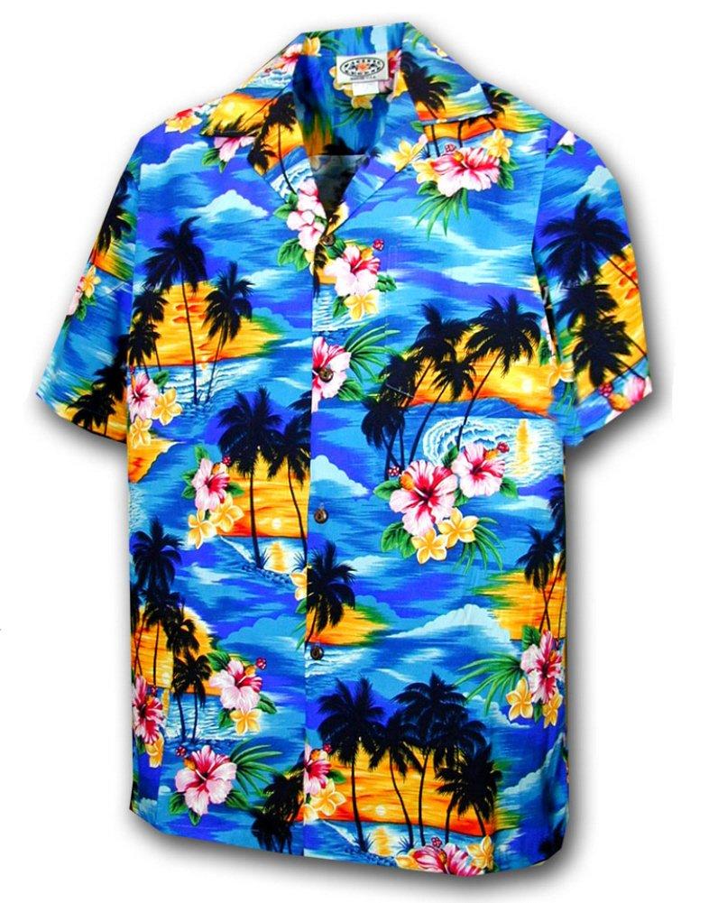 Hawaiian Shirt for Boys - Blue w/ Sunset Pattern, Small