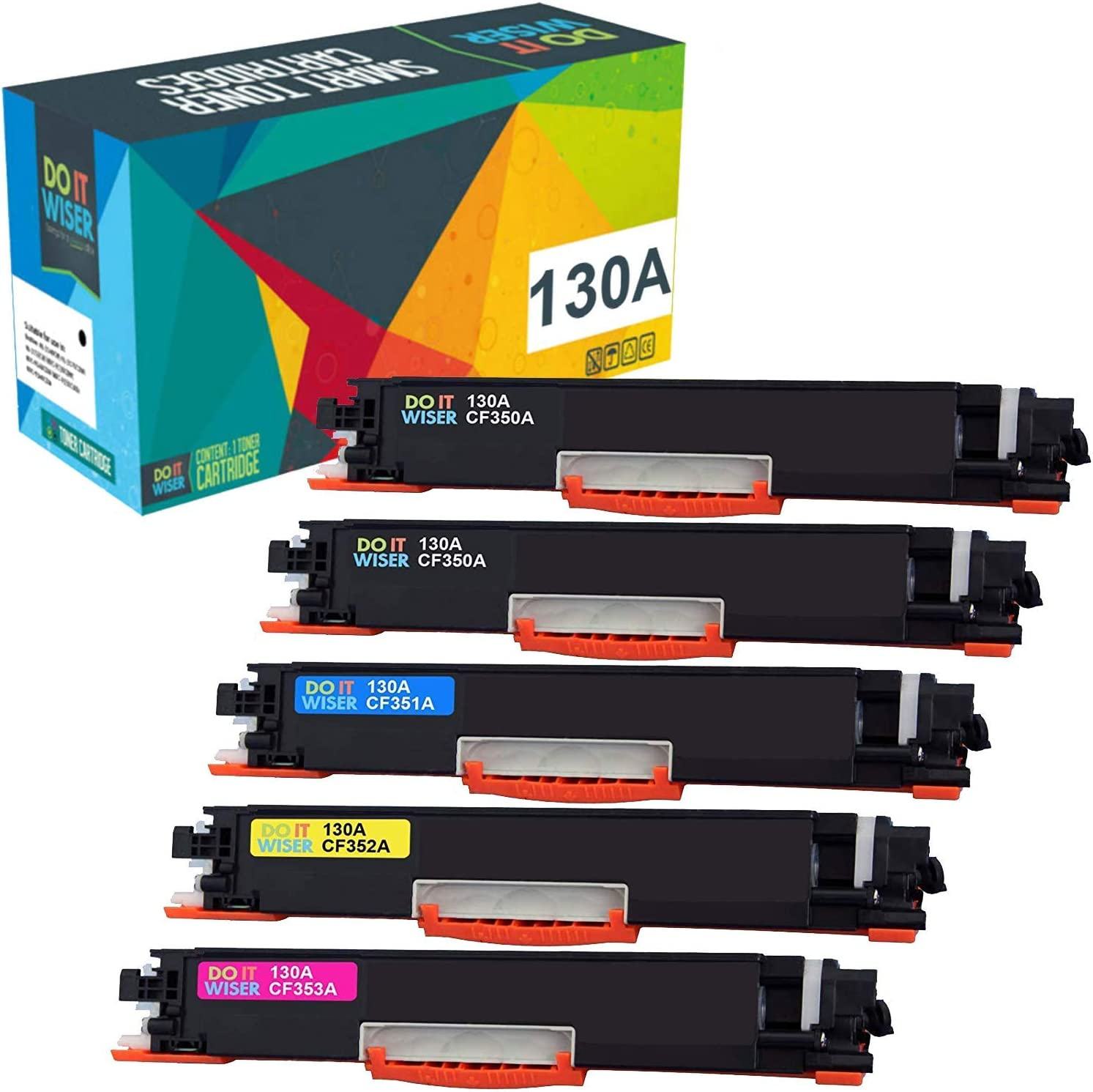 Do it Wiser Compatible Toner Replacement for HP 130A CF350A for HP Laserjet Pro Color MFP M176, M177, M177fw Printers (Black Cyan Magenta Yellow, 5-Pack)