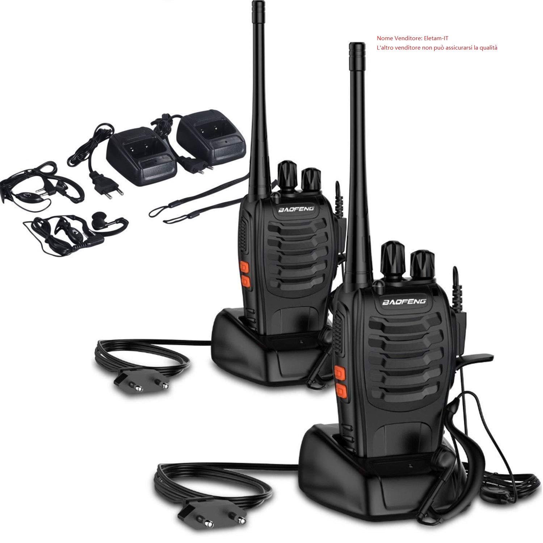 Walkie-Talkie BF-888S FM VHF/UHF 400 –  470 MHz, baterí a recargable, Walkie Talkie 5 W 16 CH con receptor de radio bidireccional [versió n actualizada]. batería recargable OCDAY