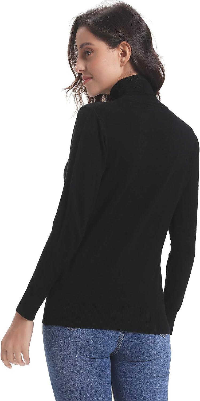 Abollria Pull FemmeCol Roul/é Tricot sous Pull Col Montant Hauts Femmes Basique /à Manches Longues Chic Hiver /à la Mode