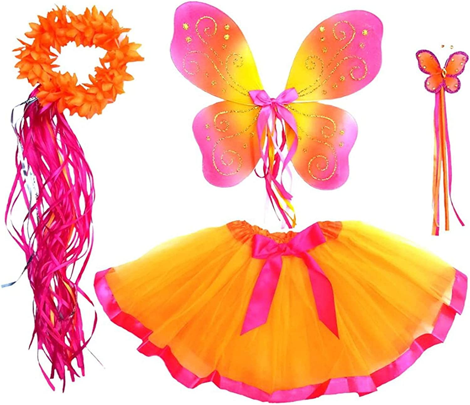 Enchantly Fairy Costume - Fairy Wings for Girls - Butterfly Costume for Girls - 4 Piece Unique Design Set