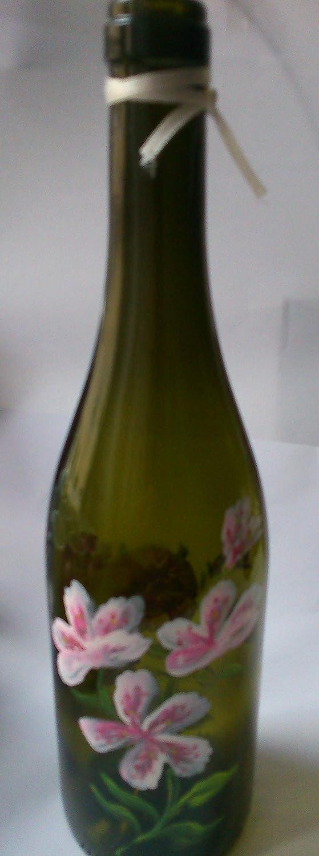 MaJe ceramista botella decorada verde con flores rosas azalea y rosas.