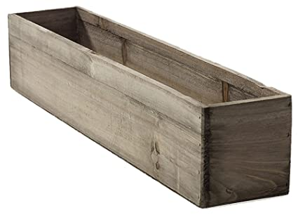 Amazon Com 20 Rectangular Rustic Wood Planter With Plastic Liner