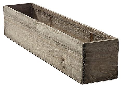 Amazon 20 rectangular rustic wood planter with plastic liner 20quot rectangular rustic wood planter with plastic liner workwithnaturefo