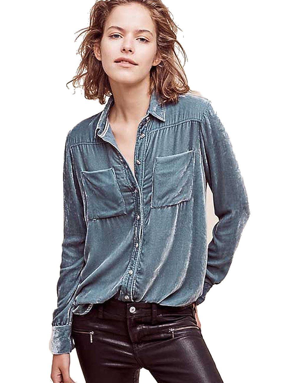 01a66d285ffad2 Womens Soft Velvet Blouse Long Sleeved Shirt Blouses at Amazon Women's  Clothing store: