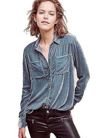 51796d82a Womens Soft Velvet Blouse Long Sleeved Shirt Blouses at Amazon Women's  Clothing store:
