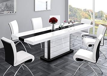 Esstisch ausziehbar schwarz  Design Esstisch HE-555 Weiß - Schwarz Hochglanz ausziehbar 160 / 210 / 260  cm