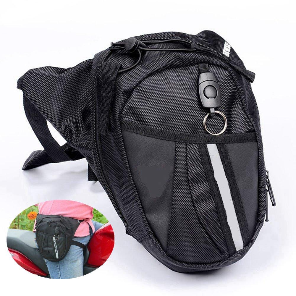 Bolso de Cintura con Pierna, HMMJ Bolso De Motocicleta, Caída De Lona Pierna De Cintura Bolsa de Pierna Mochila - Negro: Amazon.es: Deportes y aire libre