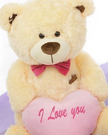 Buy peach 35 feet big teddy bear with a pink i love you heart buy peach 35 feet big teddy bear with a pink i love you heart online at low prices in india amazon altavistaventures Images