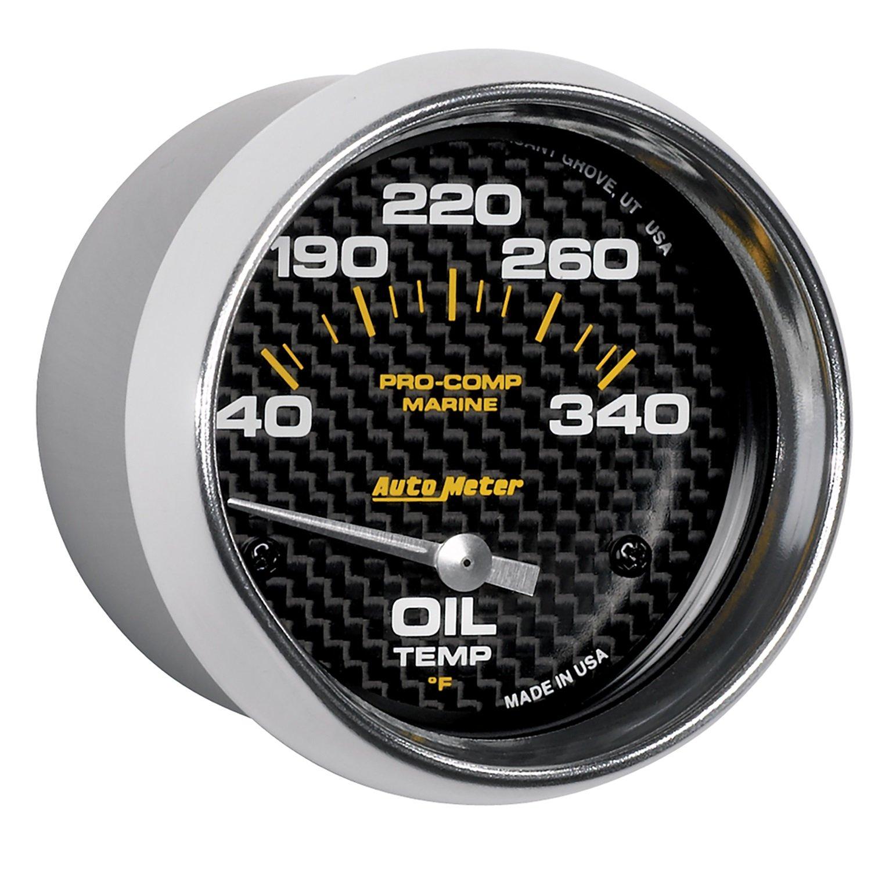140-300/ºf AutoMeter Auto Meter 200765-40 Gauge Marine Carbon Fiber Oil Temp Electric 2 5//8