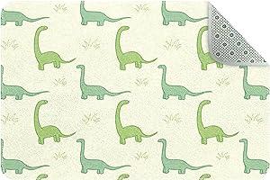 Cartoon Green Brachiosaurus Door Mats Floor Mat Indoor Outdoor Entrance Bathroom Doormat Non Slip Washable Home Decor, 24 x 16 inch