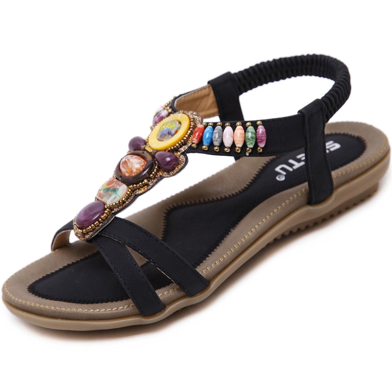 katliu Damen Sommer Sandalen Bouml;hmische Zehentrenner Sommerschuhe Frauen Flach Outdoor Schuhe  42 EU|Perle Schwarz