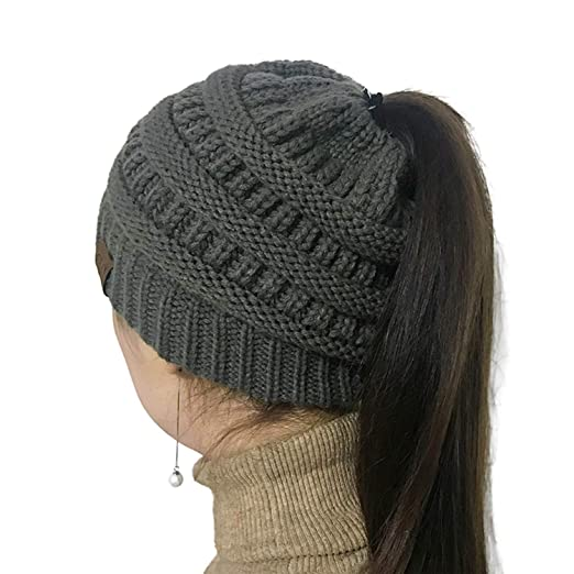 cbdab7c25 SOCILOVE Women Winter Hat Ponytail Beanie Knit Cap Winter Warm Stretch  Cable Messy High Bun Hat Soft and Warm