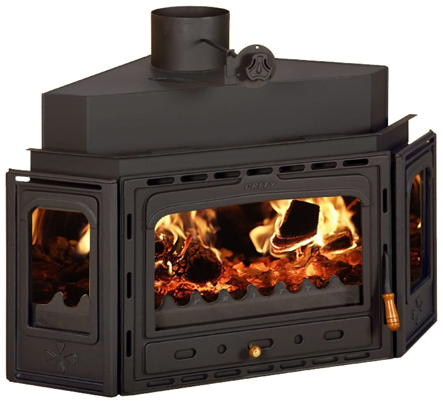 Inset Wood Burning Fireplace Insert Multi Fuel Built In Cast Iron