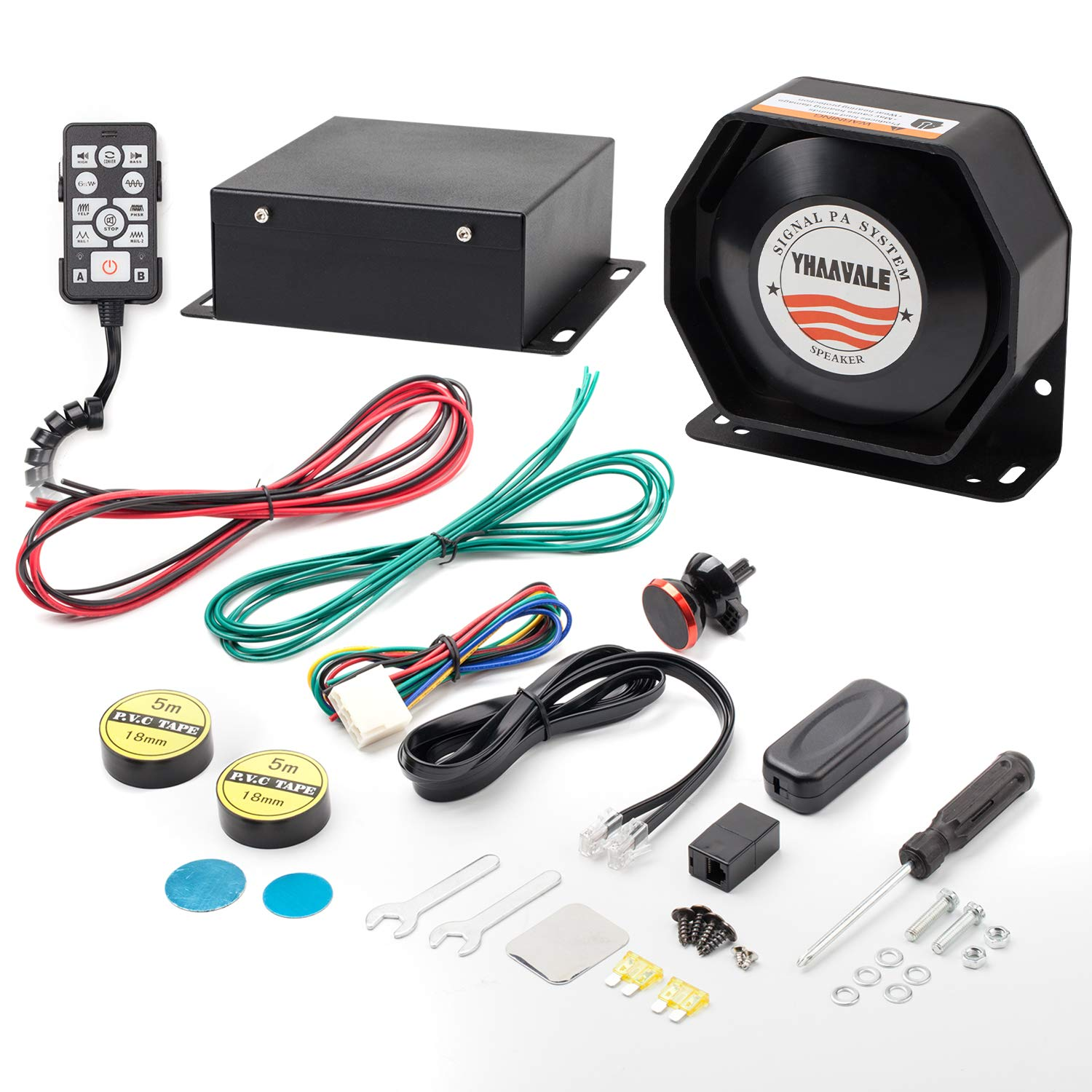 YHAAVALE 9200E Amplifier Police Siren & Metal Ultra Slime Octagon Compact on