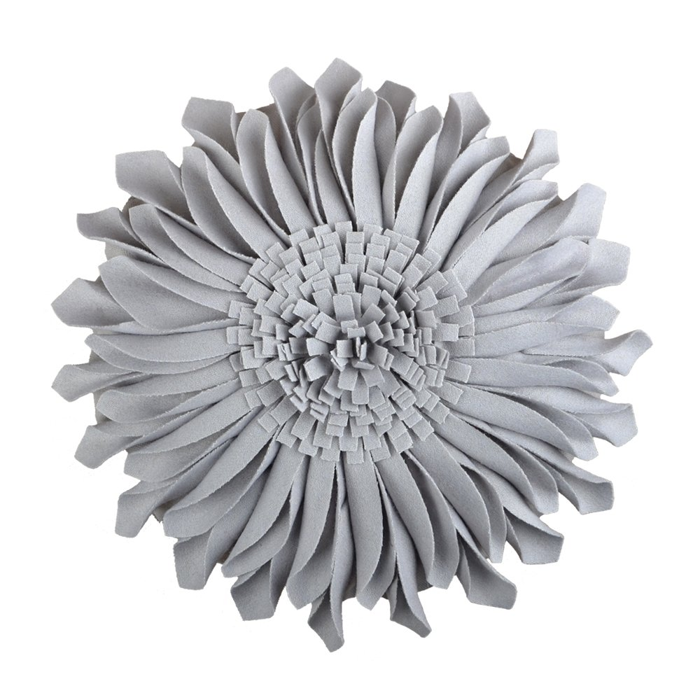 JWH Handmade Flowers Accent Pillows Round Sunflower Cushion Decorative Pillowcases with Insert Home Sofa Bed Living Room Decor Gifts 12 Inch / 30 CM Cotton Wool Light Gray