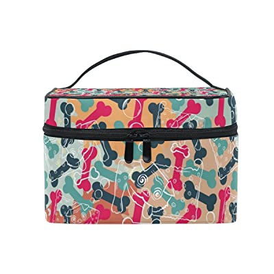 ce73c1ec1caf ALIREA Abstract Dogs And Bones Pattern Cosmetic Bag Travel Makeup ...