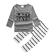 ZHUANNIAN Baby Boys Clothes 2PCS Outfit Set Long Sleeve Tops with Stripped Pants(Grey and Cream,6-12 Months)