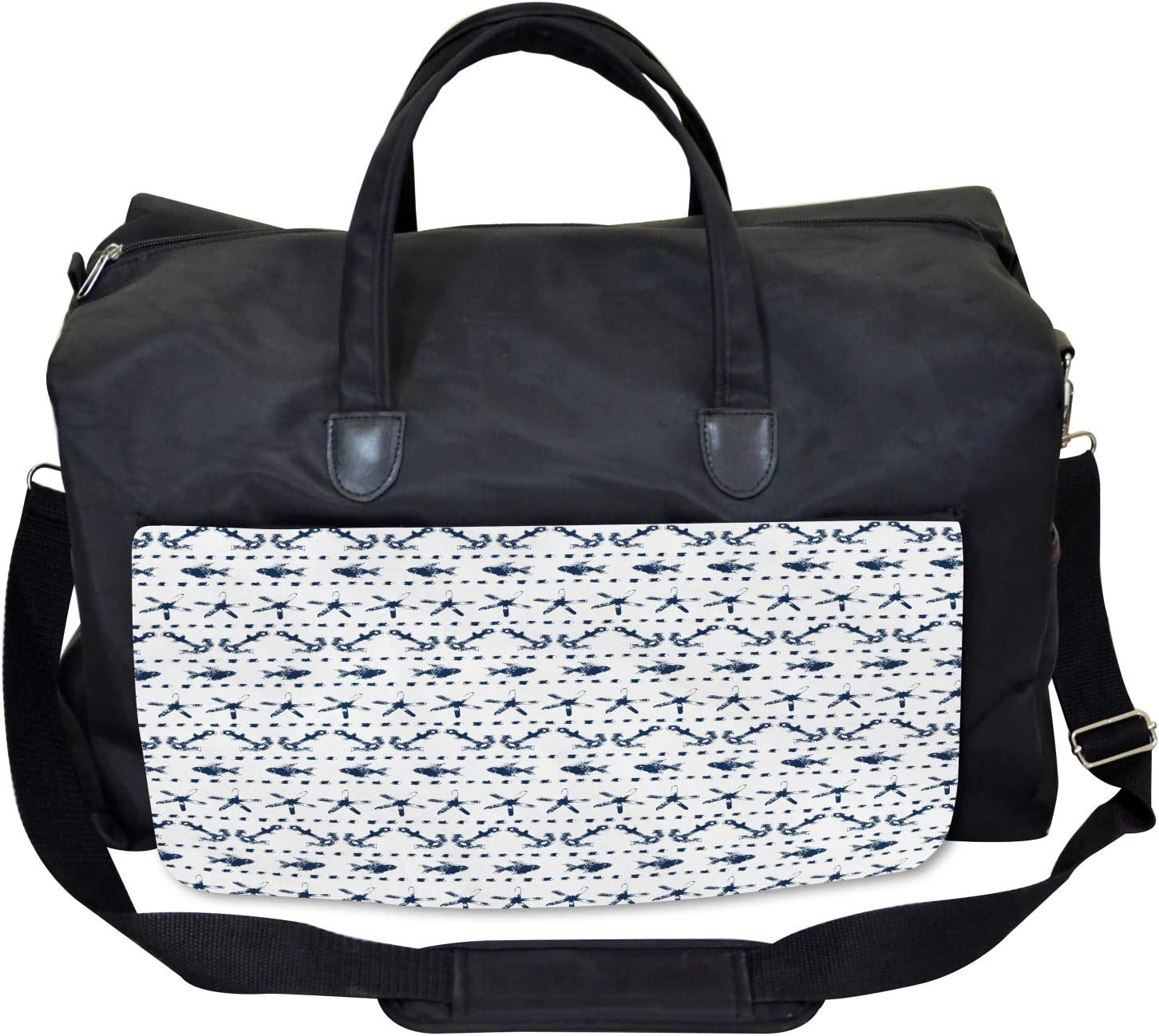 Large Weekender Carry-on Ambesonne Navy Gym Bag Anchor Starfish Sea Life