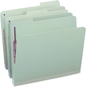 """Smead Pressboard Fastener File Folder with SafeSHIELD Fasteners, 2 Fasteners, 1/3-Cut Tab, 1"""" Expansion, Letter Size, Gray/Green, 25 per Box (14931)"""