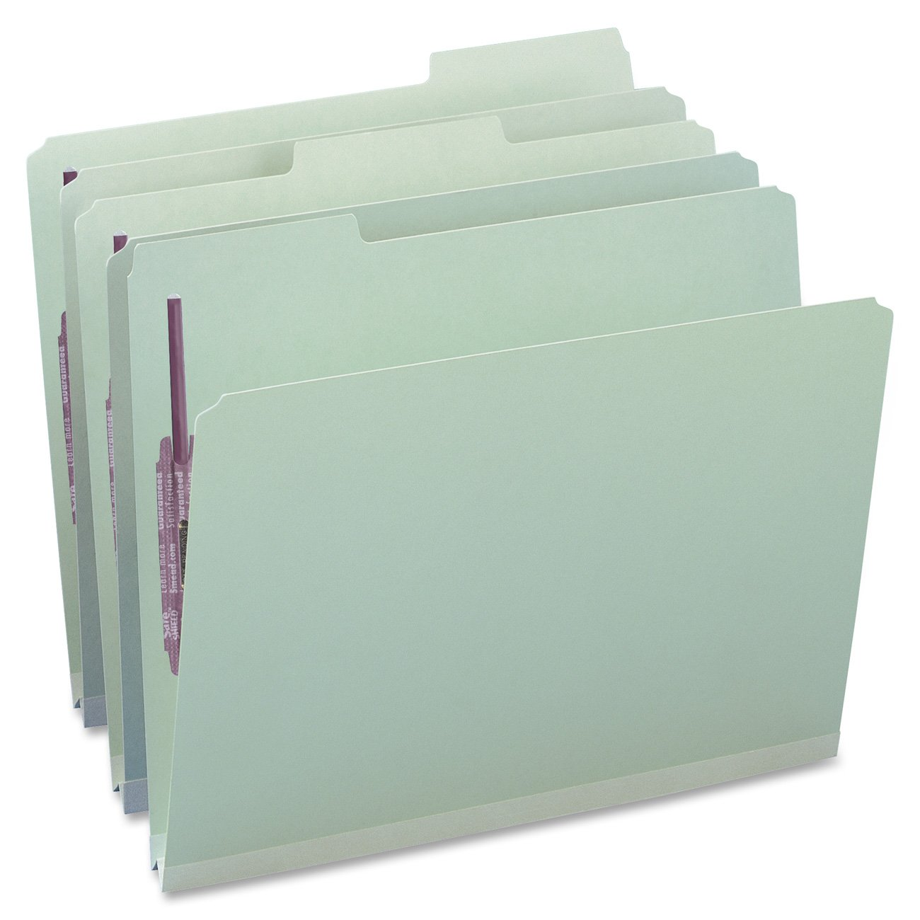 Smead Pressboard Fastener File Folder with SafeSHIELD Fasteners, 2 Fasteners, 1/3-Cut Tab, 1'' Expansion, Letter Size, Gray/Green, 25 per Box (14931)