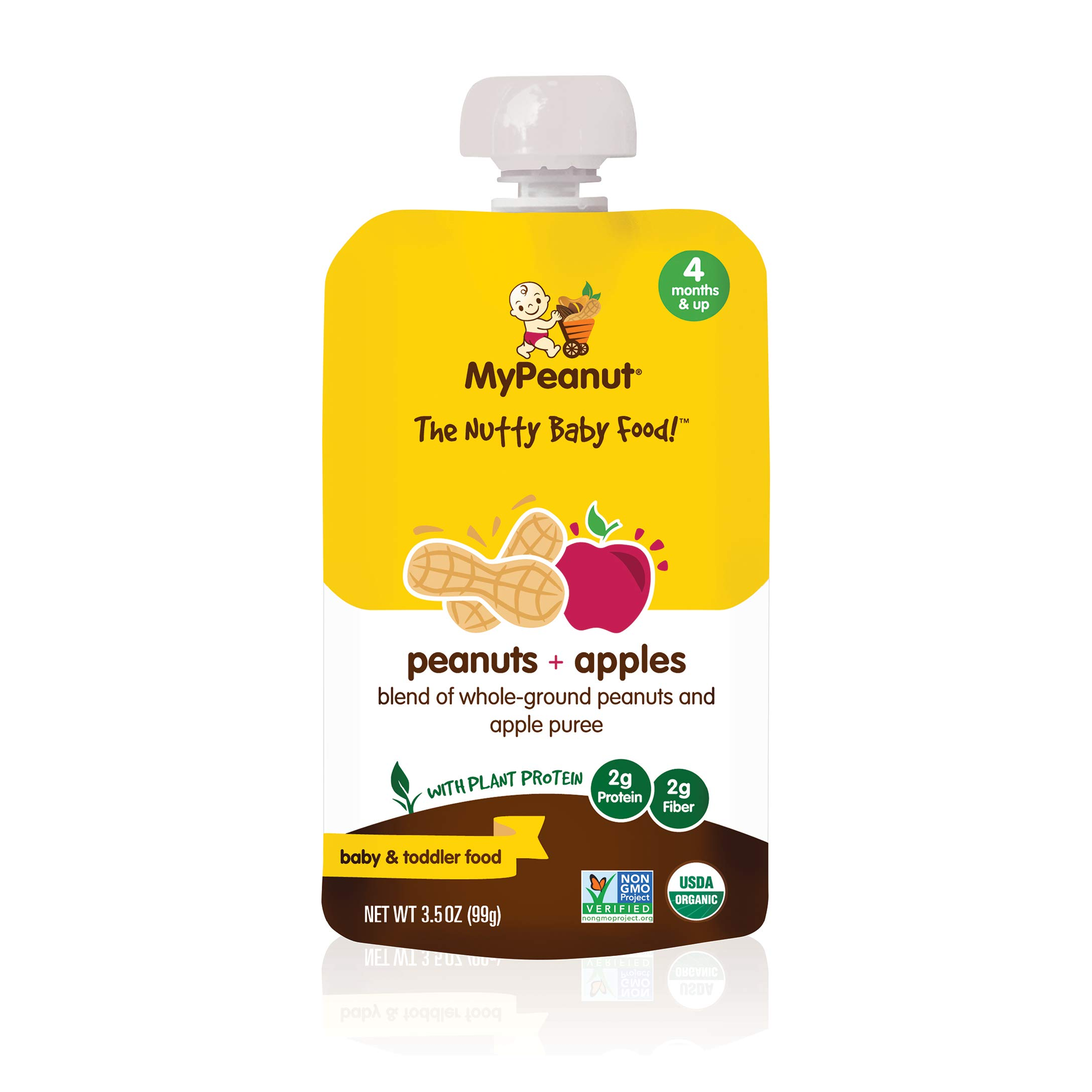MyPeanut Baby Food, Organic Stage 1 Peanut and Apple Puree for Introducing and Feeding Babies and Toddlers Nuts, Non-GMO, BPA Free 3.5 oz Pouch, 6 Pack