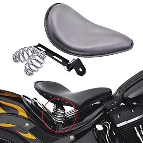 KaTur Black Leather Solo Seat 3Inch Spring Mounting Bracket Kit for Harley  Harley Honda Yamaha Kawasaki Suzuki Sportster Bobber Chopper