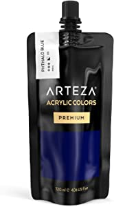 ARTEZA Acrylic Paint, Phthalo Blue Color, (120 ml Pouch, Tube), Rich Pigment, Non Fading, Non Toxic, Single Color Paint for Artists, Hobby Painters & Kids