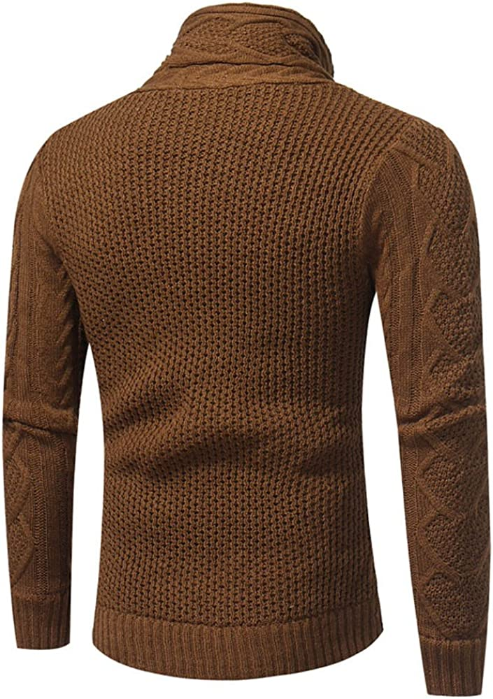 Mens Cardigan Sweaters F/_Gotal Mens Knitted Jacket Turtleneck Cardigan Winter Pullover Hoodies Casual Sweaters Jumper
