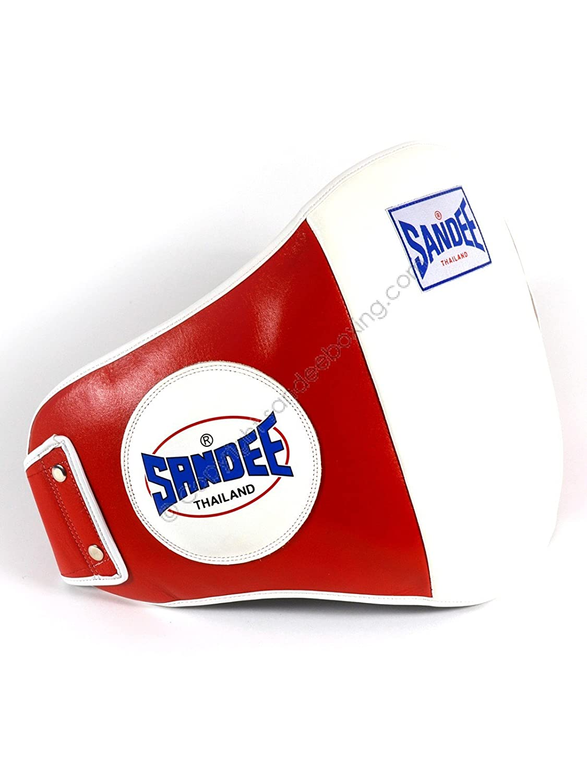 Protector de vientre Sandee para Muay Thai, color rojo/blanco
