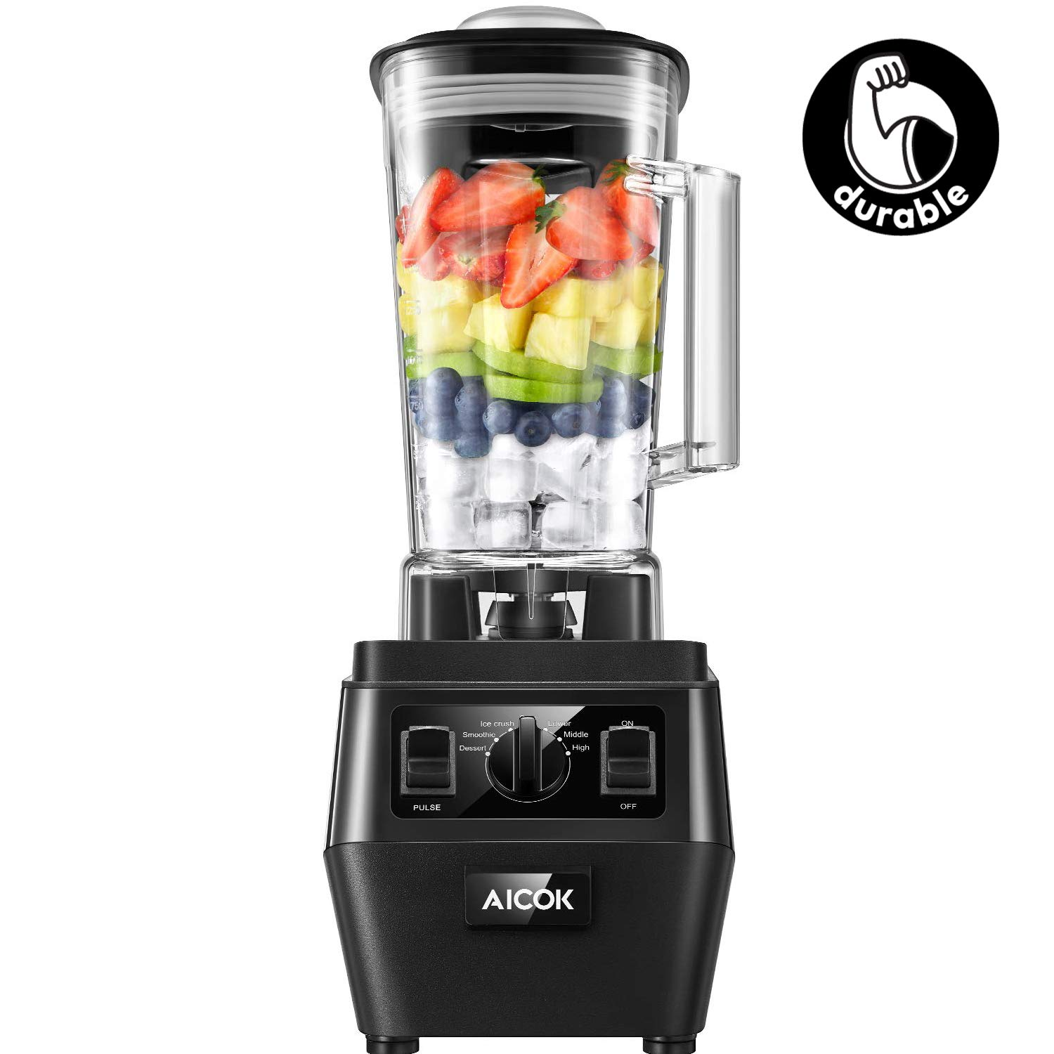 AICOK Blender, Professional Countertop Durable Blender for Shakes and Smoothies, Ice Crushing, Frozen Drinks with Dishwasher Safe 70oz BPA-Free Tritan Jar, 1400W (2019 Version) by AICOK