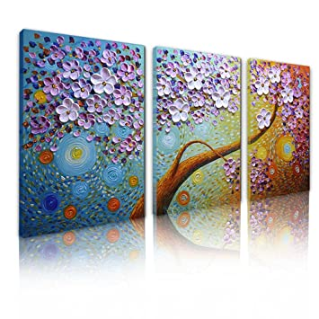 Asdam Art Painting 3 Panels Flower Paintings On Canvas Hand Painted Abstact Artwork Tree Picture Horizontal Wall Art For Living Room Dinning Room