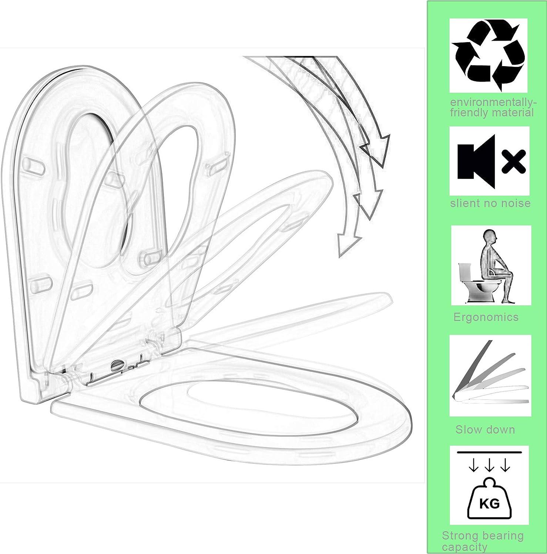 charni/ères Softclose antibact/érien Woltu WS2543 Couvercle de si/ège WC en plastique avec syst/ème dabaissement automatique Fast Fix//fixation rapide